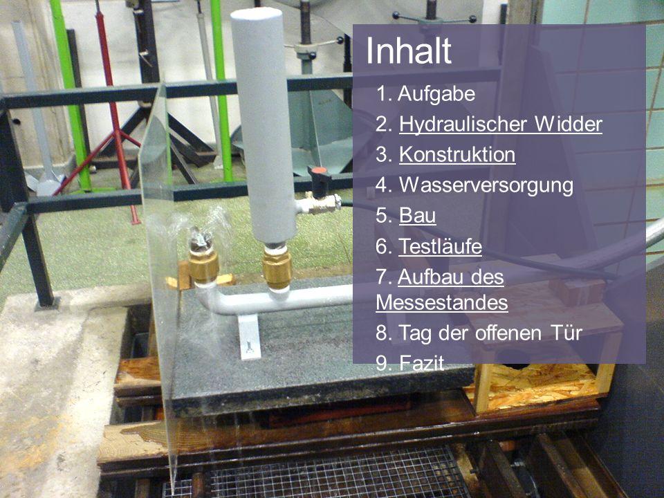 Inhalt 1. Aufgabe 2. Hydraulischer Widder 3. Konstruktion