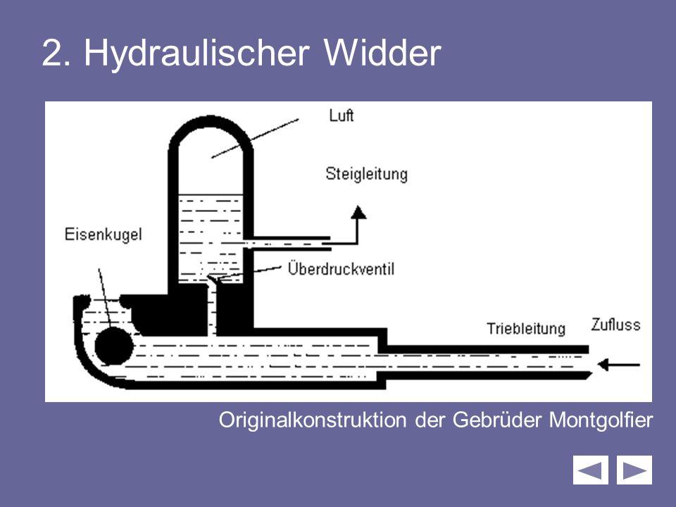 2. Hydraulischer Widder Originalkonstruktion der Gebrüder Montgolfier