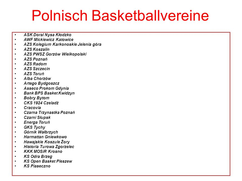 Polnisch Basketballvereine