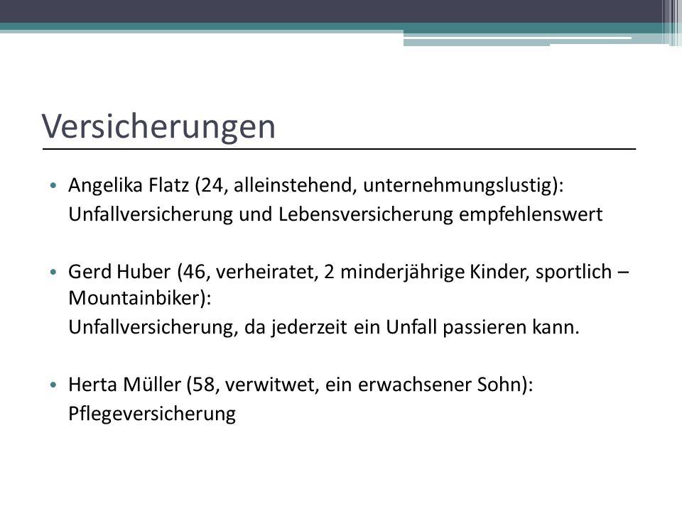 Versicherungen Angelika Flatz (24, alleinstehend, unternehmungslustig): Unfallversicherung und Lebensversicherung empfehlenswert.