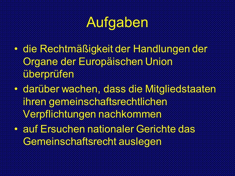 Aufgaben die Rechtmäßigkeit der Handlungen der Organe der Europäischen Union überprüfen.