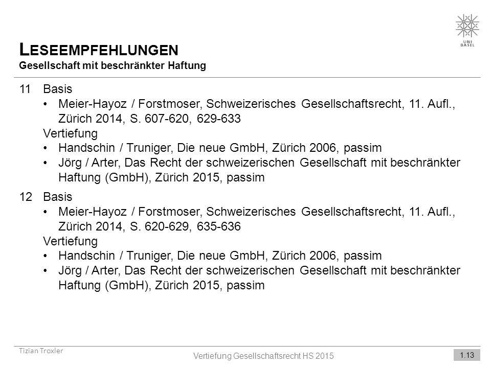 Vertiefung Gesellschaftsrecht HS 2015
