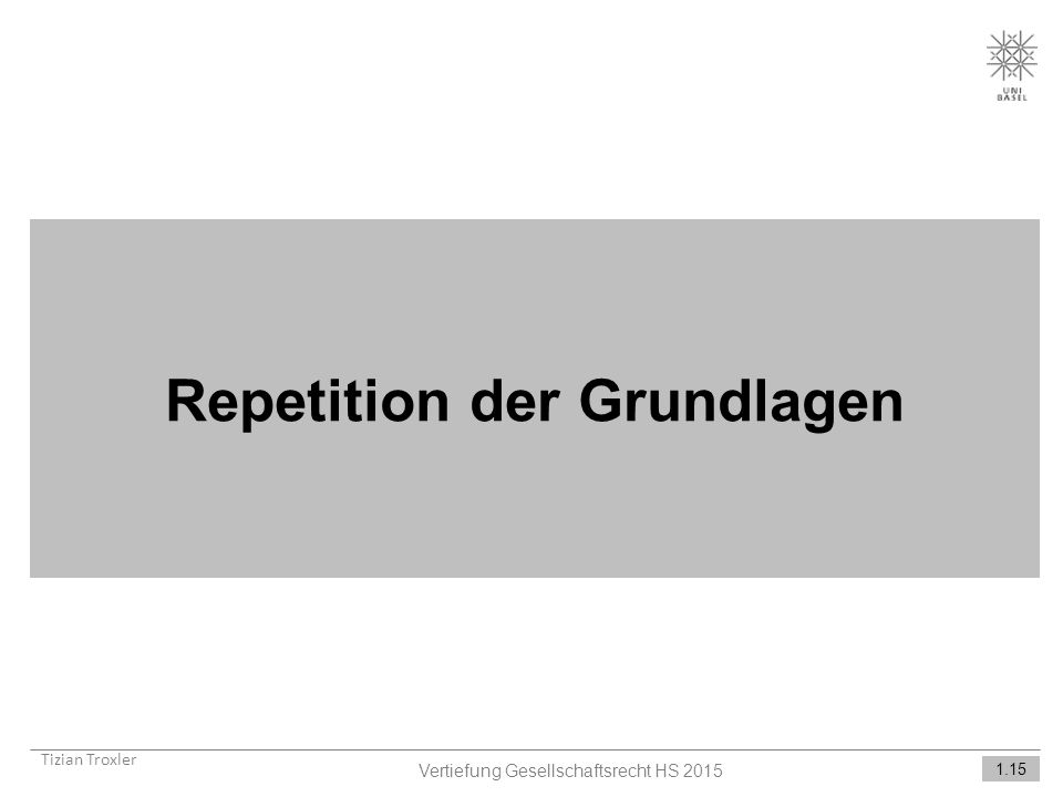 Repetition der Grundlagen