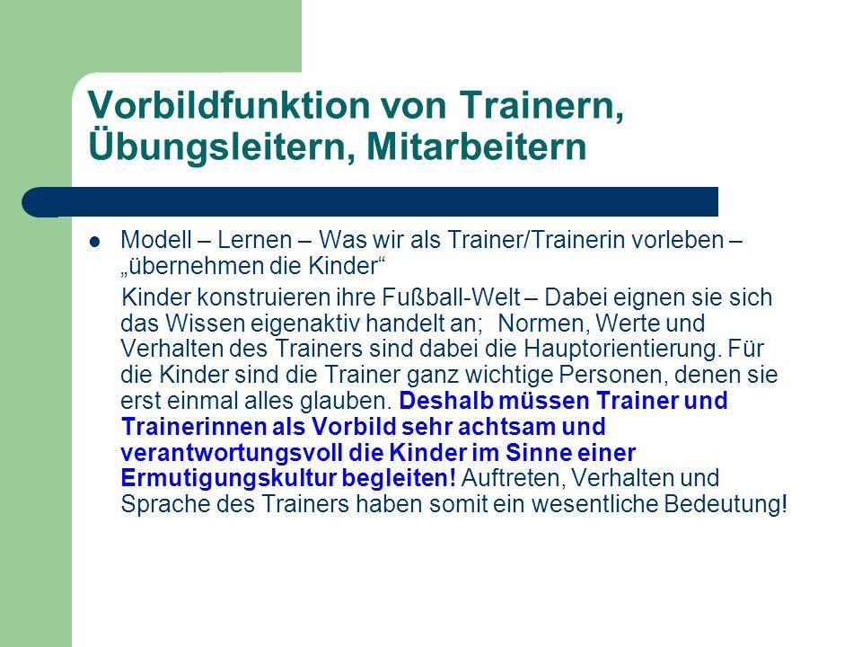 Vorbildfunktion von Trainern, Übungsleitern, Mitarbeitern
