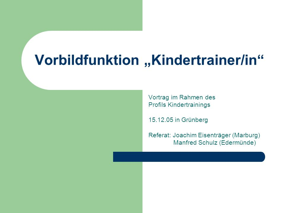 "Vorbildfunktion ""Kindertrainer/in"
