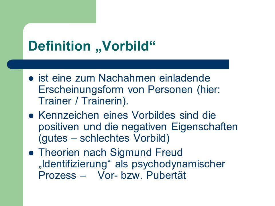 """Definition """"Vorbild ist eine zum Nachahmen einladende Erscheinungsform von Personen (hier: Trainer / Trainerin)."""