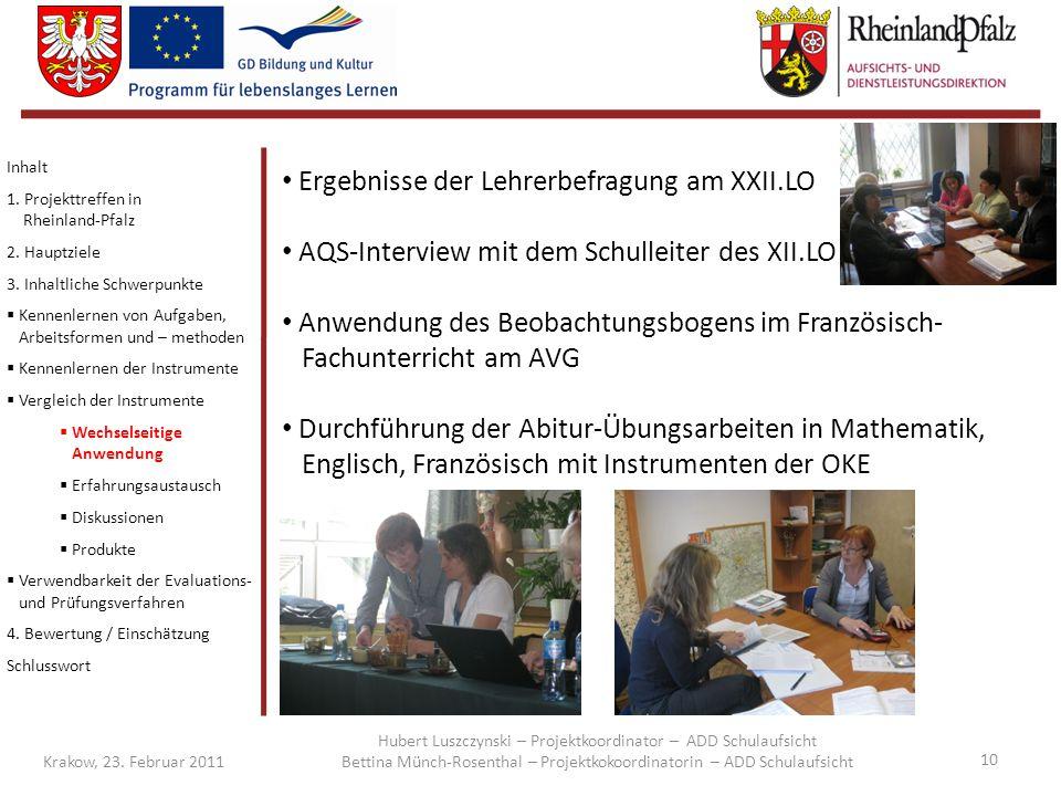 Ergebnisse der Lehrerbefragung am XXII.LO
