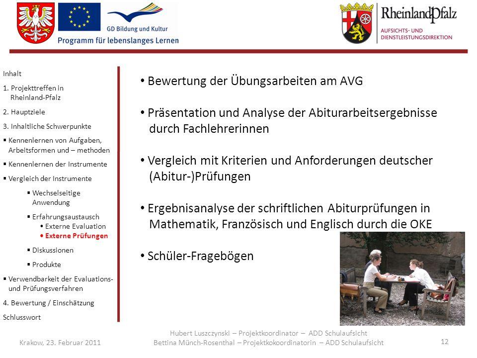 Bewertung der Übungsarbeiten am AVG