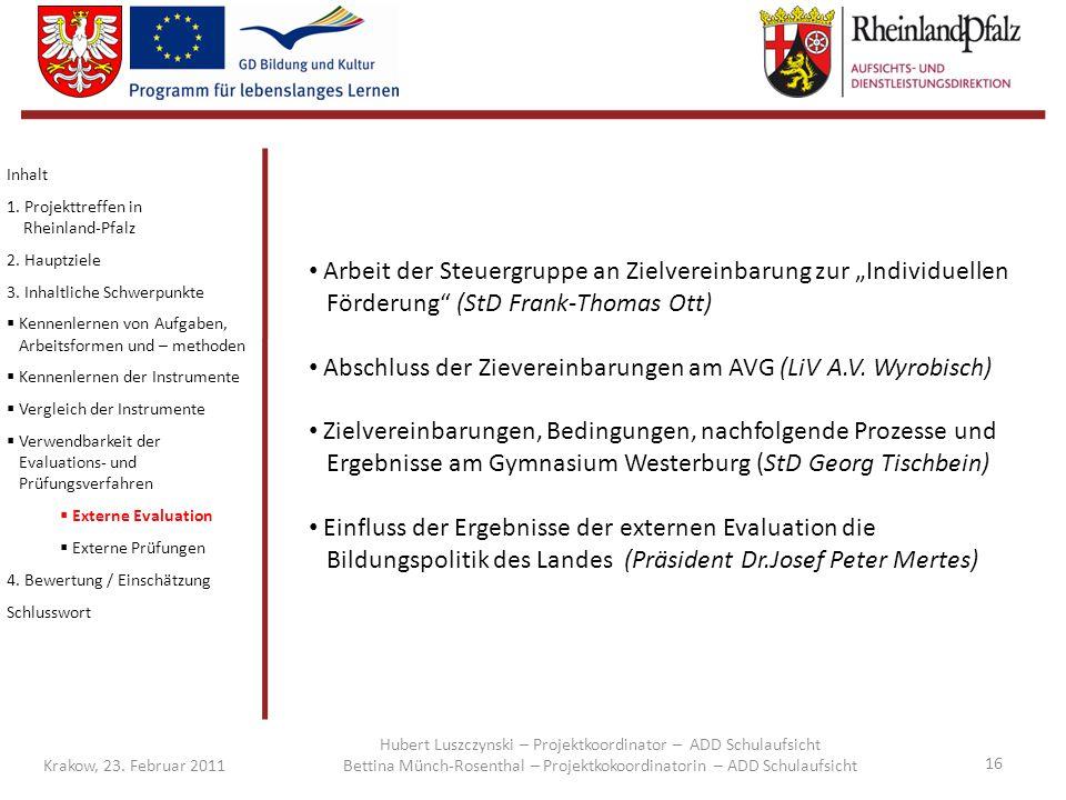 Abschluss der Zievereinbarungen am AVG (LiV A.V. Wyrobisch)