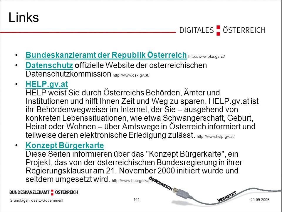 Links Bundeskanzleramt der Republik Österreich http://www.bka.gv.at/