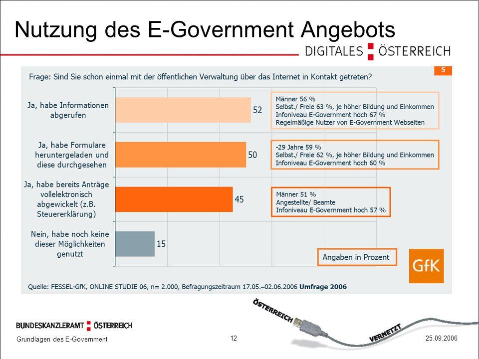 Nutzung des E-Government Angebots