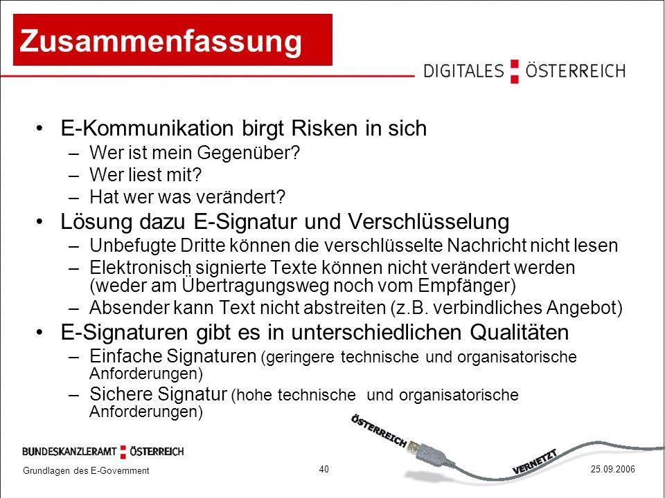 Zusammenfassung E-Kommunikation birgt Risken in sich