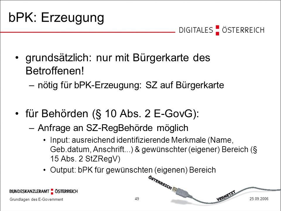 bPK: Erzeugung grundsätzlich: nur mit Bürgerkarte des Betroffenen!