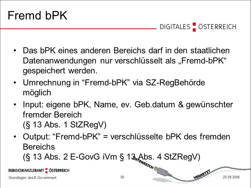 """Fremd bPK Das bPK eines anderen Bereichs darf in den staatlichen Datenanwendungen nur verschlüsselt als """"Fremd-bPK gespeichert werden."""
