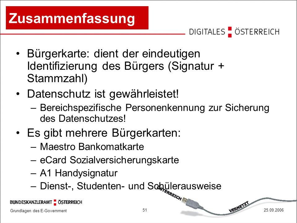 Zusammenfassung Bürgerkarte: dient der eindeutigen Identifizierung des Bürgers (Signatur + Stammzahl)