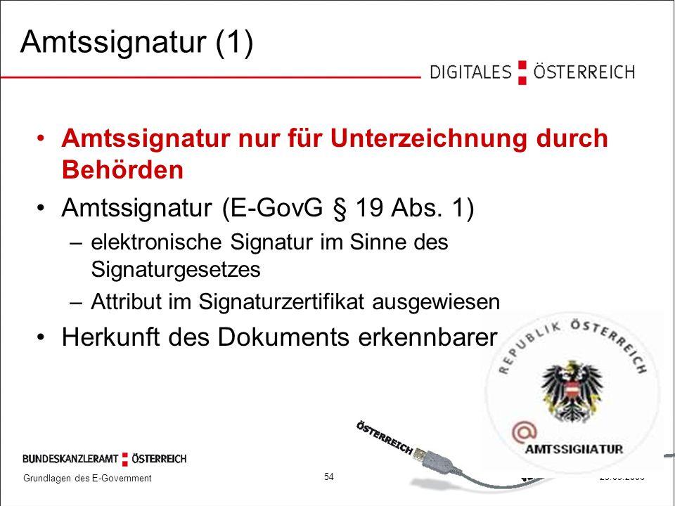 Amtssignatur (1) Amtssignatur nur für Unterzeichnung durch Behörden