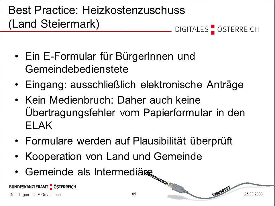 Best Practice: Heizkostenzuschuss (Land Steiermark)