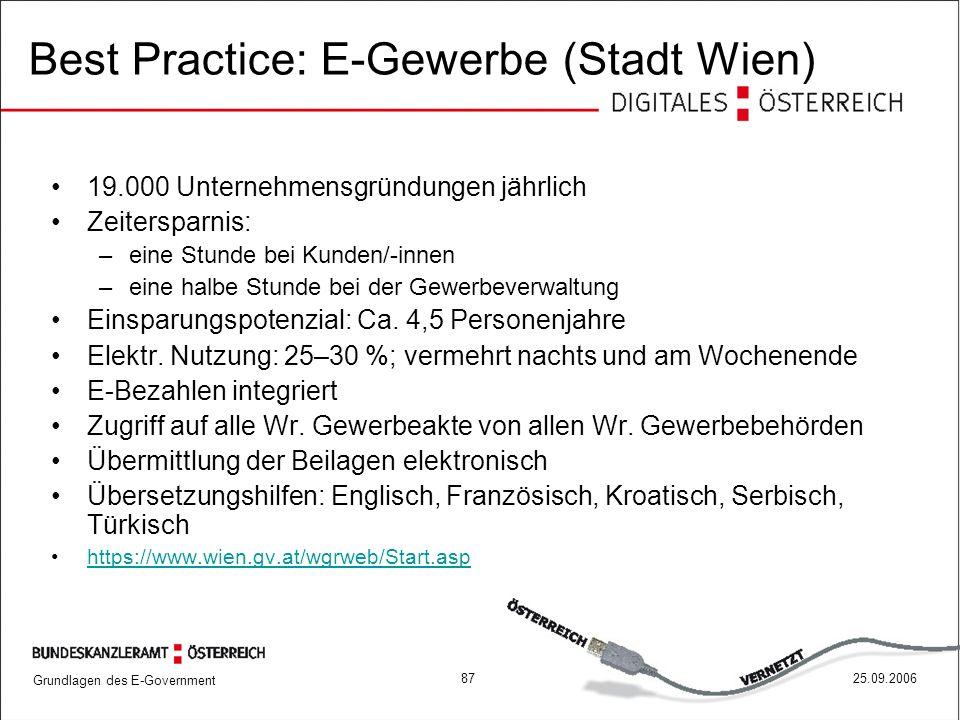 Best Practice: E-Gewerbe (Stadt Wien)