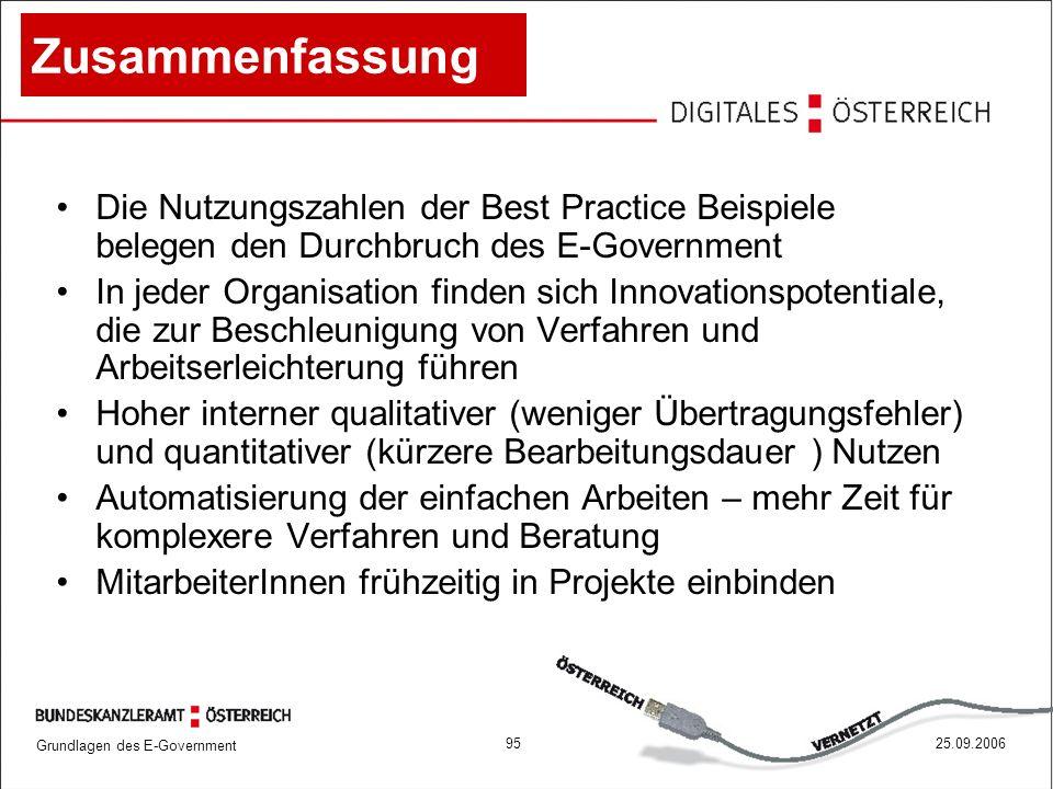Zusammenfassung Die Nutzungszahlen der Best Practice Beispiele belegen den Durchbruch des E-Government.