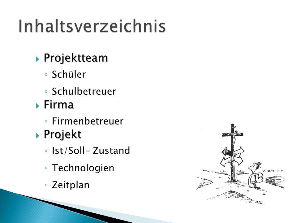 Inhaltsverzeichnis Projektteam Firma Projekt Schüler Schulbetreuer