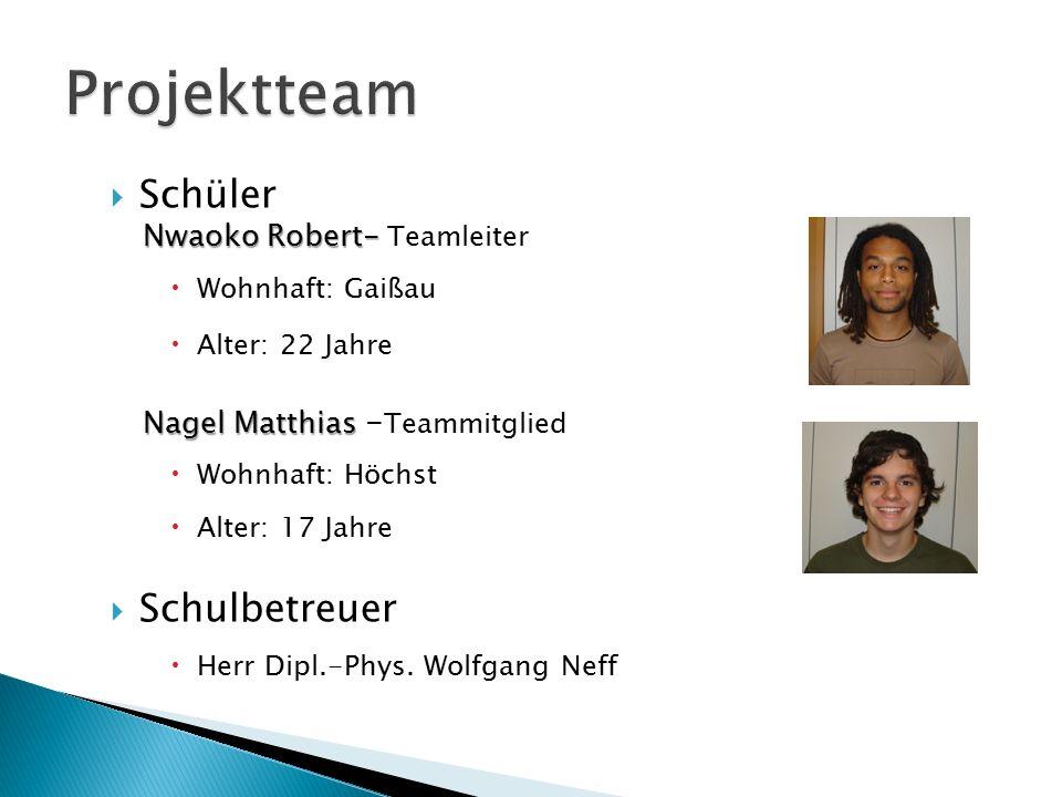Projektteam Schüler Schulbetreuer Nwaoko Robert- Teamleiter