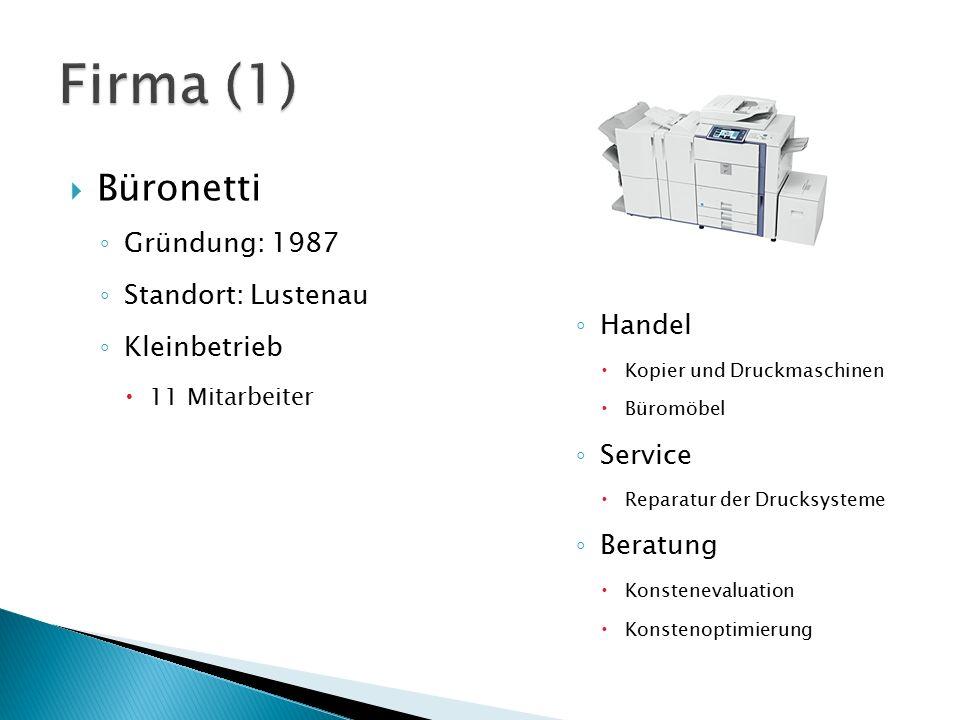 Firma (1) Büronetti Gründung: 1987 Standort: Lustenau Kleinbetrieb