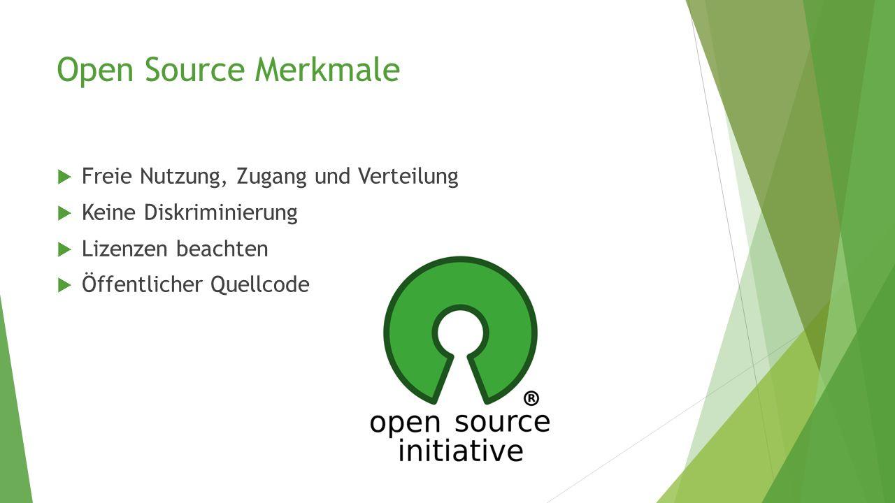 Open Source Merkmale Freie Nutzung, Zugang und Verteilung