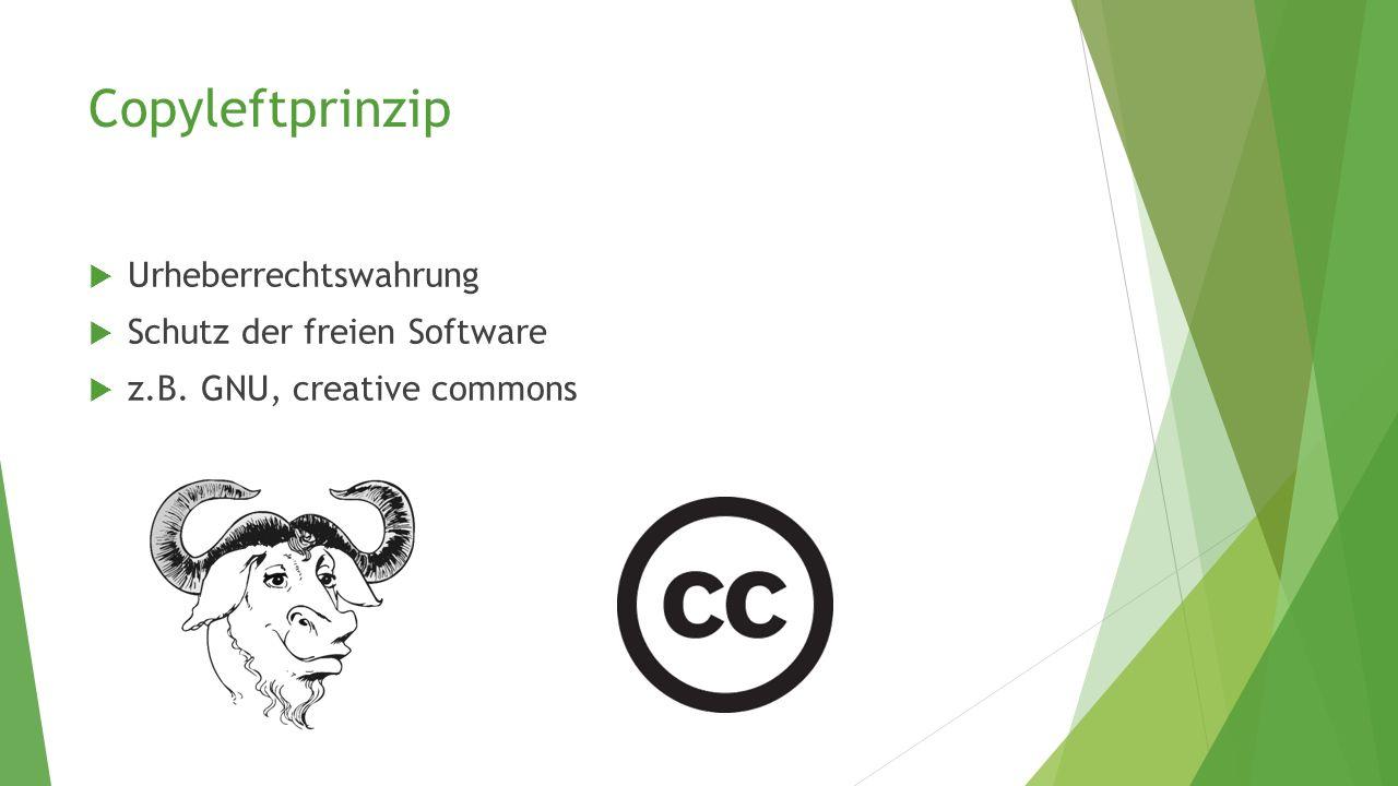 Copyleftprinzip Urheberrechtswahrung Schutz der freien Software
