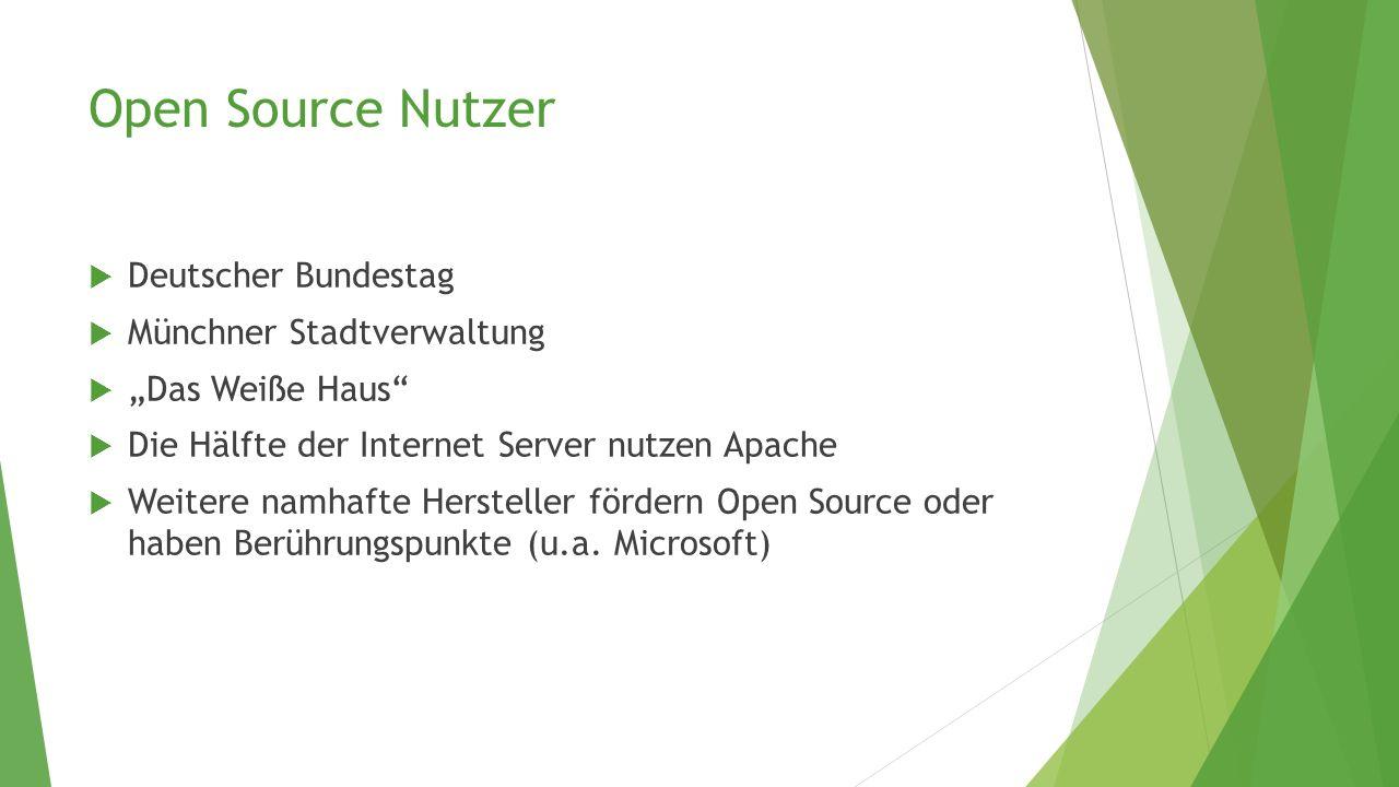 Open Source Nutzer Deutscher Bundestag Münchner Stadtverwaltung