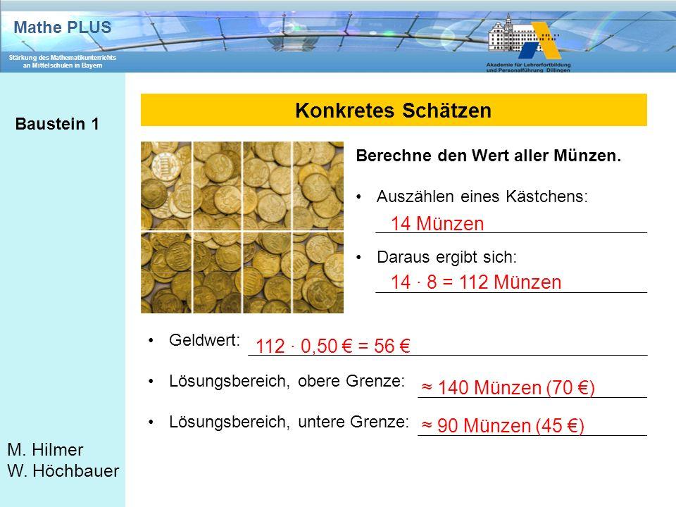Konkretes Schätzen 14 Münzen 14 ∙ 8 = 112 Münzen 112 ∙ 0,50 € = 56 €
