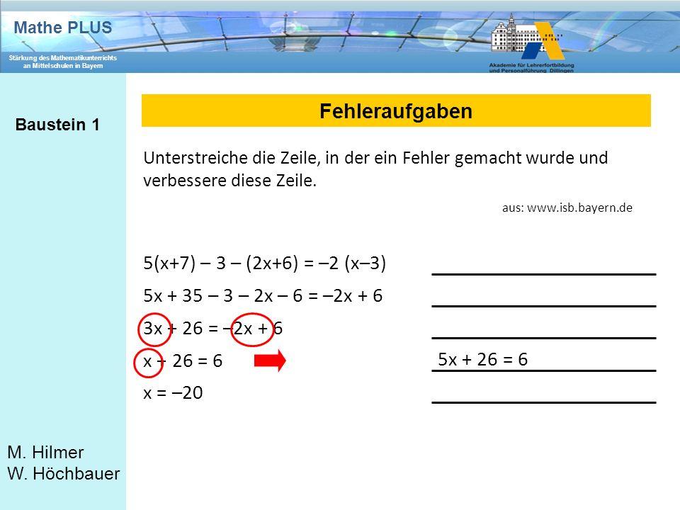 Fehleraufgaben 5(x+7) – 3 – (2x+6) = –2 (x–3)