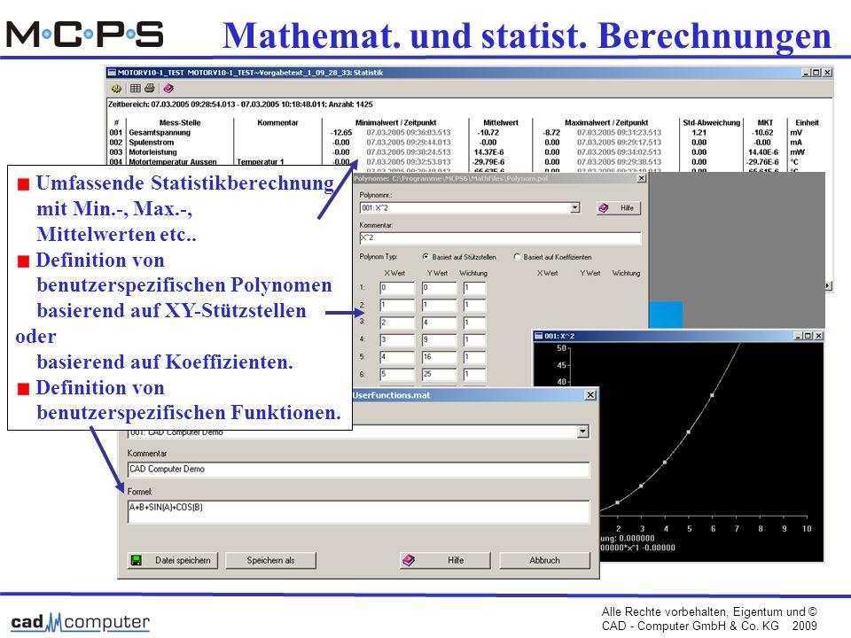 Mathemat. und statist. Berechnungen