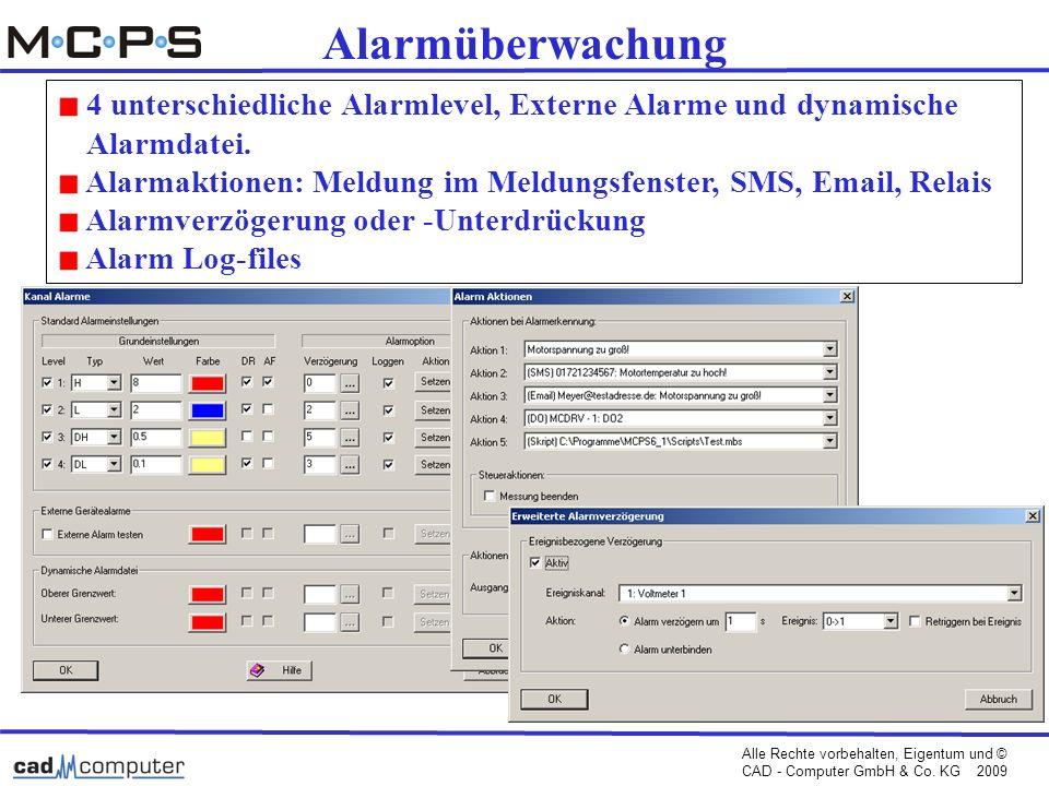 Alarmüberwachung 4 unterschiedliche Alarmlevel, Externe Alarme und dynamische. Alarmdatei.