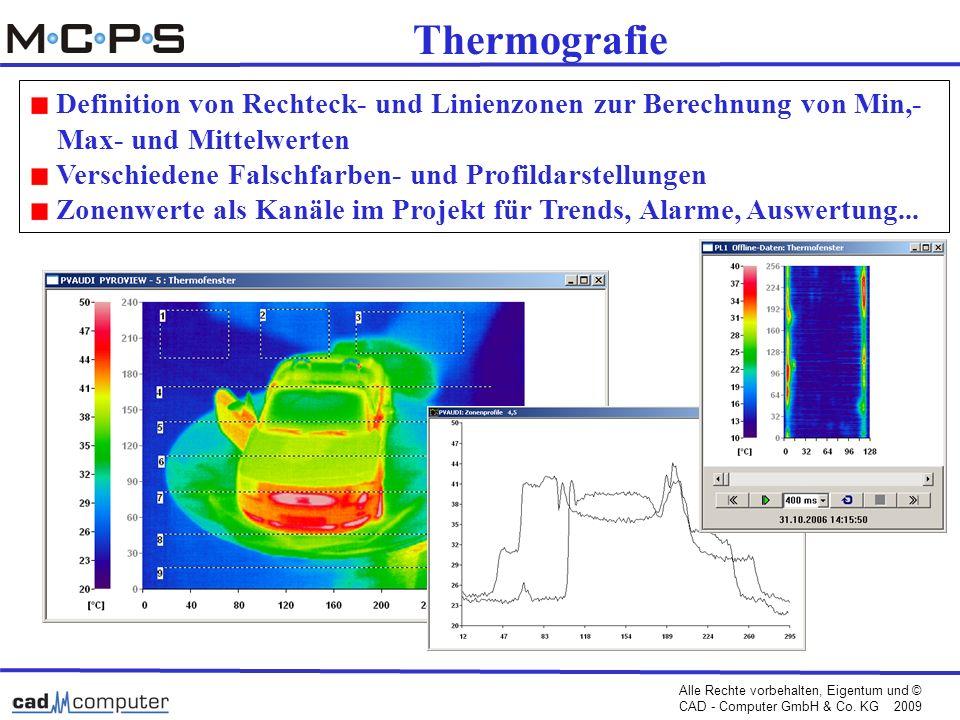 Thermografie Definition von Rechteck- und Linienzonen zur Berechnung von Min,- Max- und Mittelwerten.