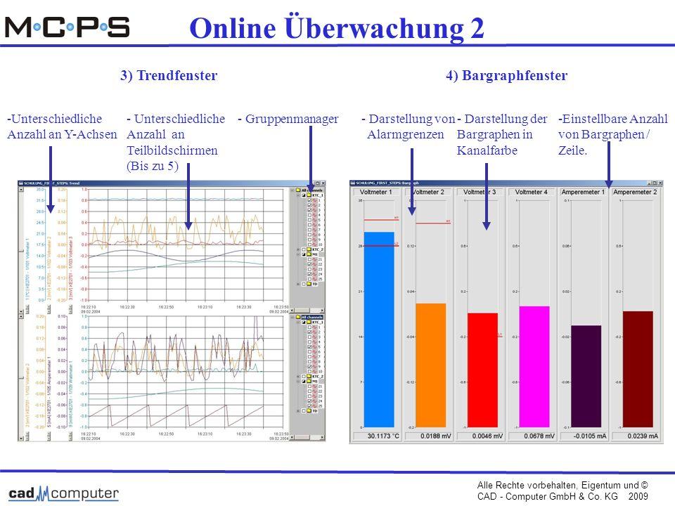 Online Überwachung 2 3) Trendfenster 4) Bargraphfenster