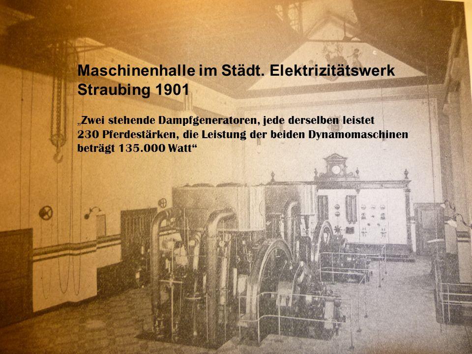 Maschinenhalle im Städt. Elektrizitätswerk Straubing 1901