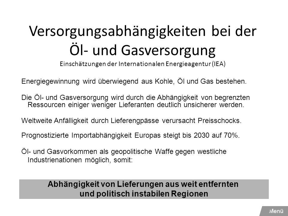 Versorgungsabhängigkeiten bei der Öl- und Gasversorgung Einschätzungen der Internationalen Energieagentur (IEA)
