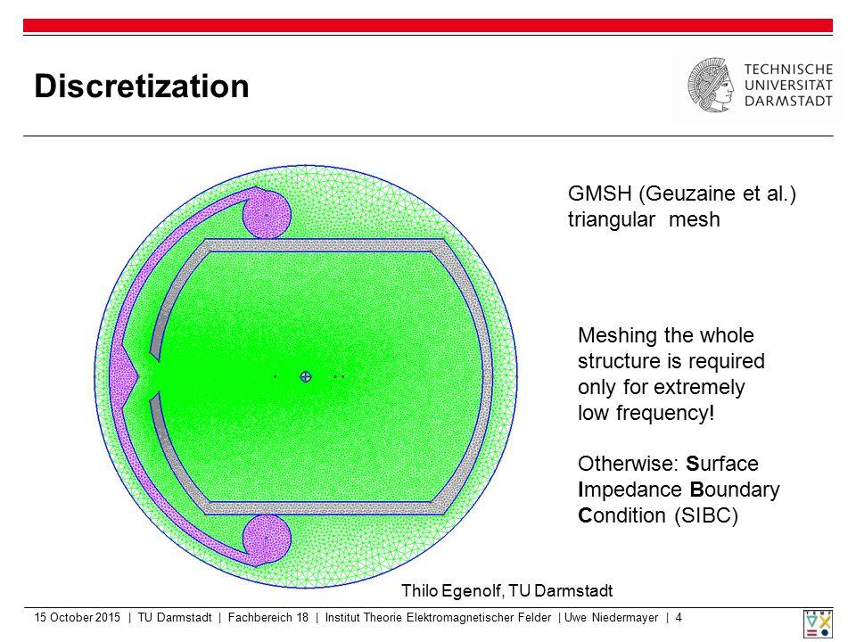 Discretization GMSH (Geuzaine et al.) triangular mesh