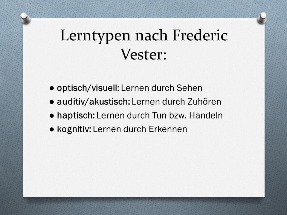 Lerntypen nach Frederic Vester: