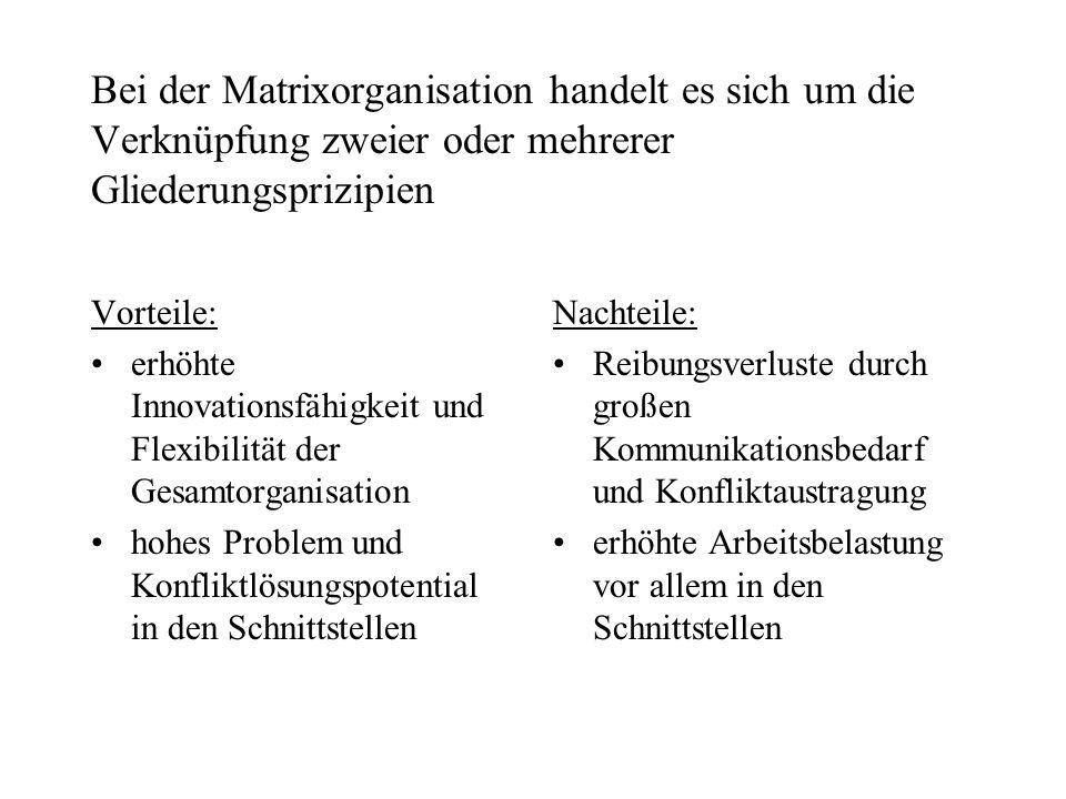 Bei der Matrixorganisation handelt es sich um die Verknüpfung zweier oder mehrerer Gliederungsprizipien