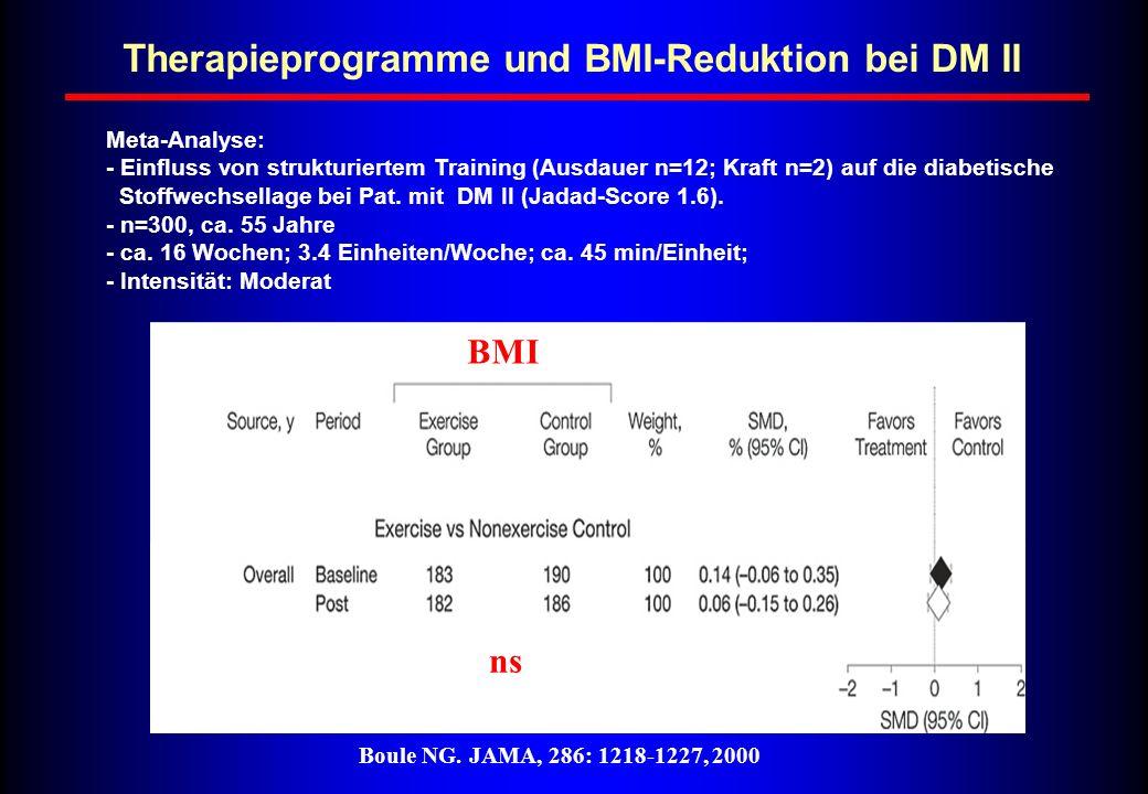 Therapieprogramme und BMI-Reduktion bei DM II