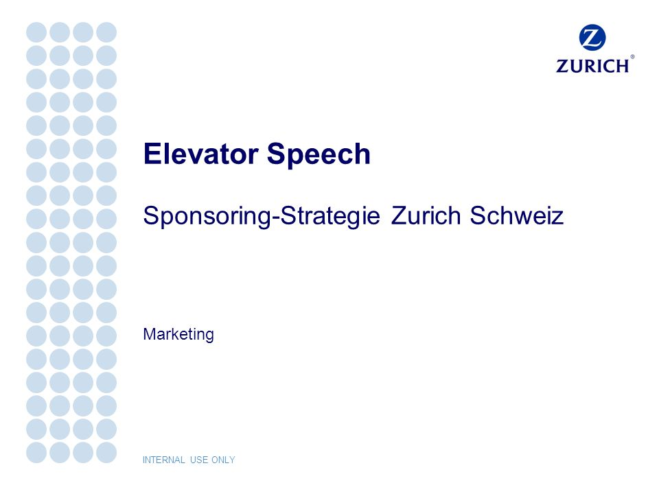 Elevator Speech Sponsoring-Strategie Zurich Schweiz