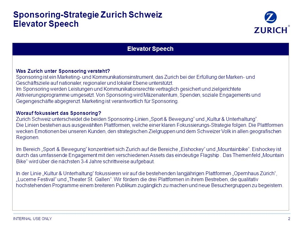 Sponsoring-Strategie Zurich Schweiz Elevator Speech