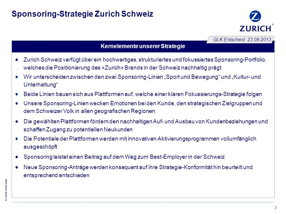 Sponsoring-Strategie Zurich Schweiz