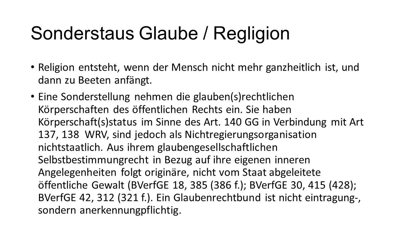Sonderstaus Glaube / Regligion