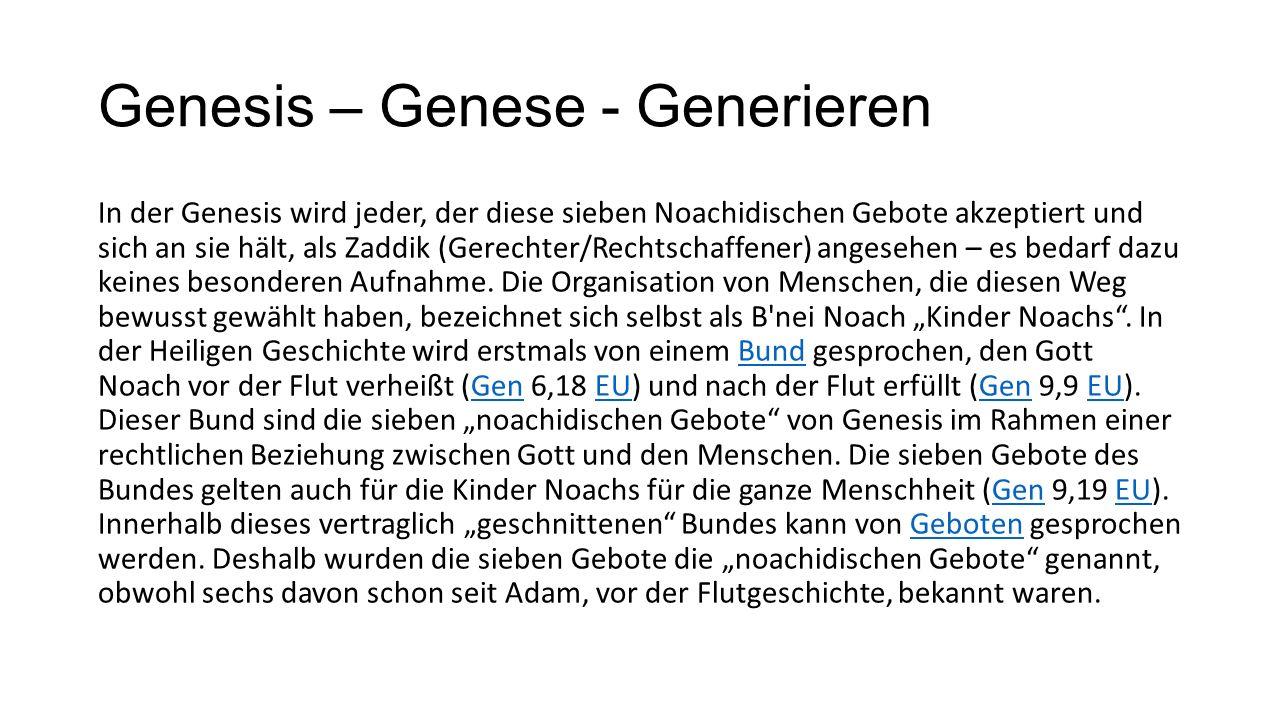 Genesis – Genese - Generieren