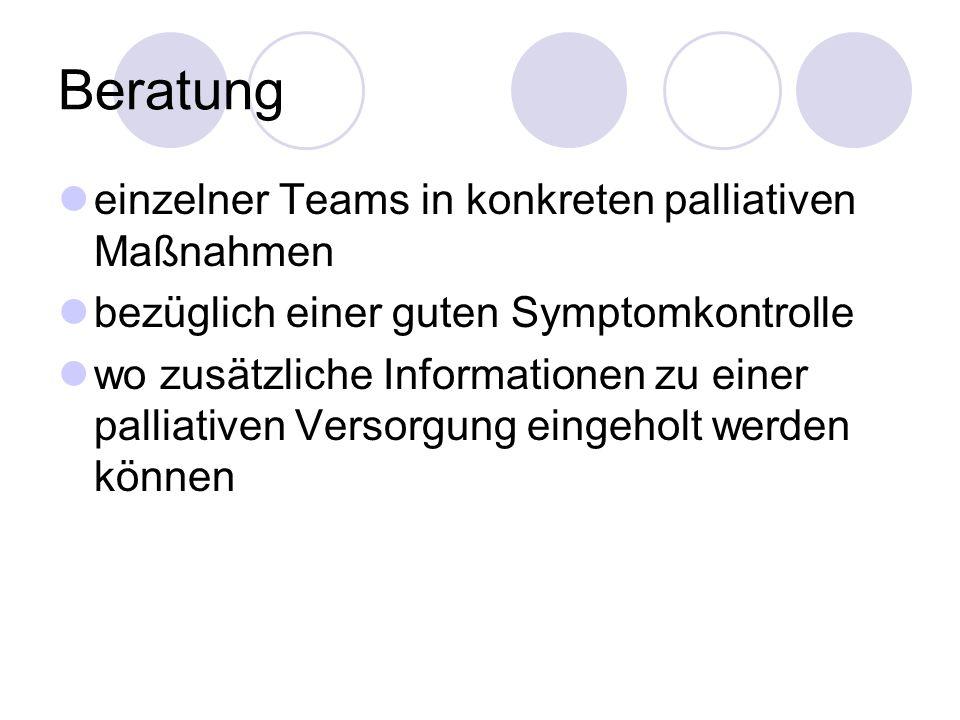 Beratung einzelner Teams in konkreten palliativen Maßnahmen