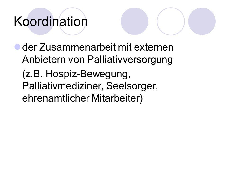 Koordination der Zusammenarbeit mit externen Anbietern von Palliativversorgung.