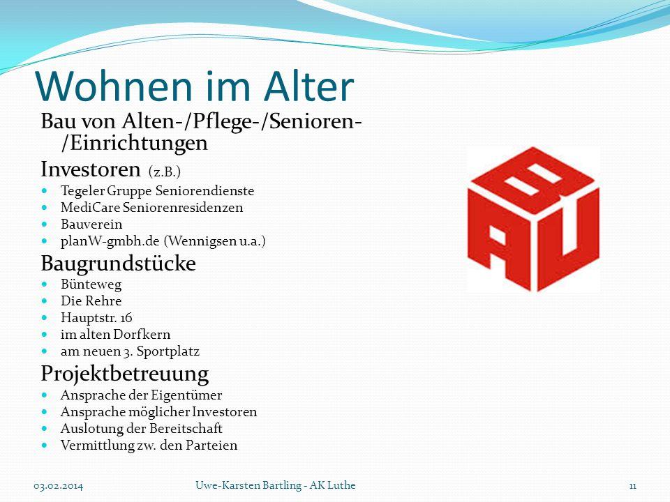 Wohnen im Alter Bau von Alten-/Pflege-/Senioren-/Einrichtungen