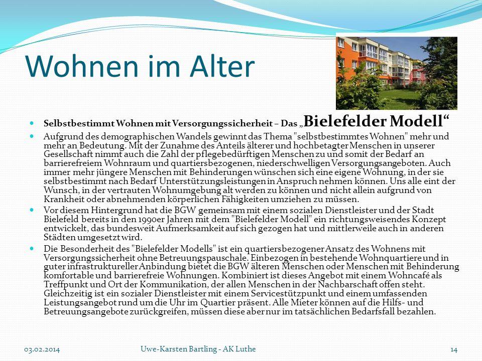 """Wohnen im Alter Selbstbestimmt Wohnen mit Versorgungssicherheit – Das """"Bielefelder Modell"""